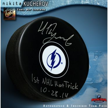 Nikita Kucherov Autographed Tampa Bay Lightning Hockey Puck 1st Hat Trick Inscription