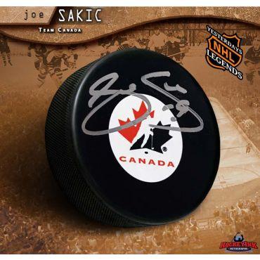 Joe Sakic Autographed Team Canada Puck
