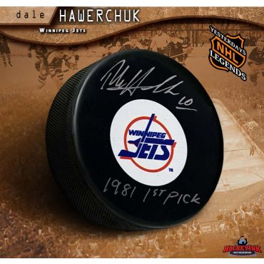 Dale HawerChuk Autographed Winnipeg Jets Puck with 1981 1st Pick Inscription