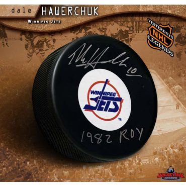 Dale HawerChuk Autographed Winnipeg Jets Puck with 1982 ROY Inscription