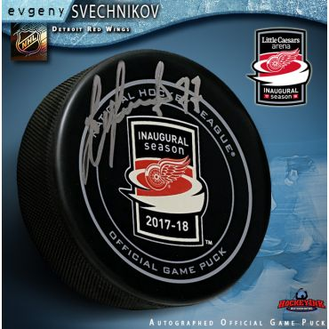 Evgeny Svechnikov Autographed Detroit Red Wings Inaugural Season at LCA Official Game Puck