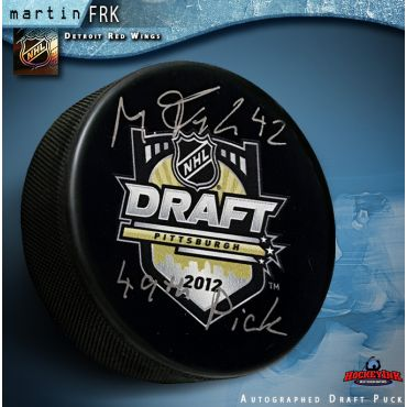 Martin Frk Autographed 2012 NHL Draft Puck with 49th Pick Inscription