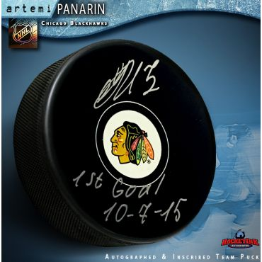 Artemi Panarin Autographed Chicago Blackhawks Puck with 1st Goal Inscription