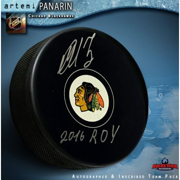 Artemi Panarin Autographed Chicago Blackhawks Puck with 2016 ROY Inscription