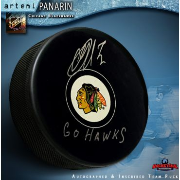 Artemi Panarin Autographed Chicago Blackhawks Puck with Go Hawks Inscripiton