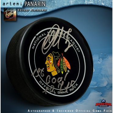 Artemi Panarin Autographed Chicago Blackhawks Official Game Puck with 1st Goal Inscription