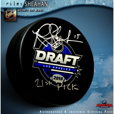 Riley Sheehan Autographed 2010 NHL Draft Puck with 21st Pick Inscription