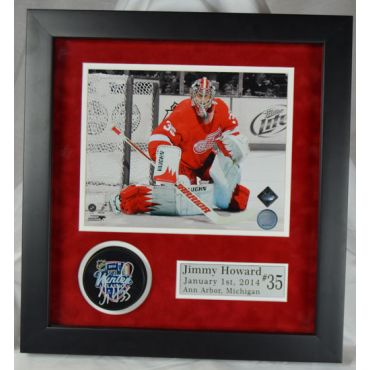 Jimmy Howard Detroit Red Wings Autographed 8 x 10 Photo with Puck Framed